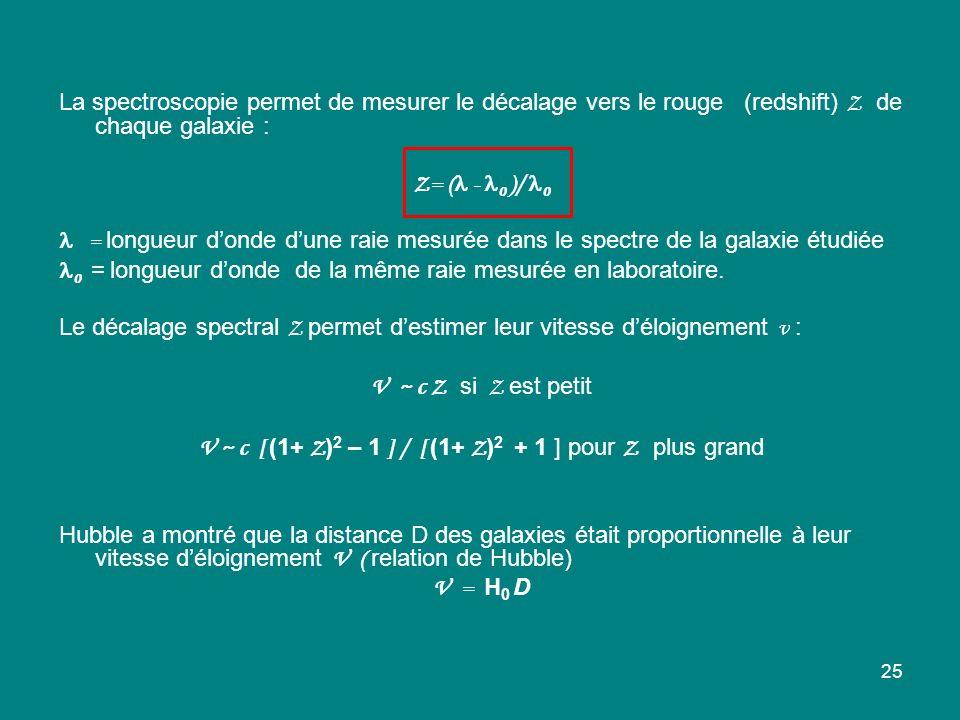 V ~ c [ (1+ Z)2 – 1 ] / [ (1+ Z)2 + 1 ] pour Z plus grand
